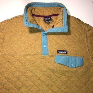 RARE Patagonia Yellow Quilted Snap T Jacket Sweate